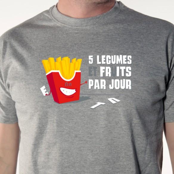 t shirt parodie - 5 fruits et l u00e9gumes par jour