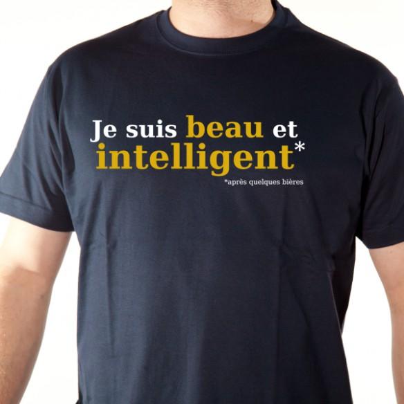 t shirt alcool - beau et intelligent