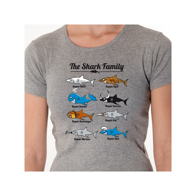 t shirt the shark family tee shirt personnalis animaux avomarks. Black Bedroom Furniture Sets. Home Design Ideas
