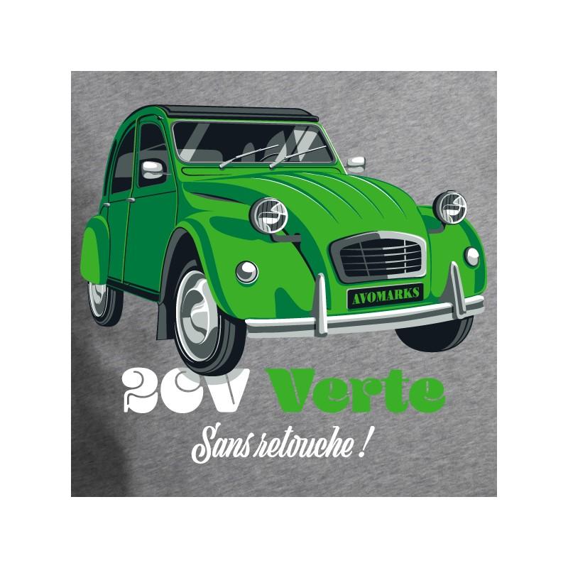 t shirt 2 cv - 2cv verte sans retouche