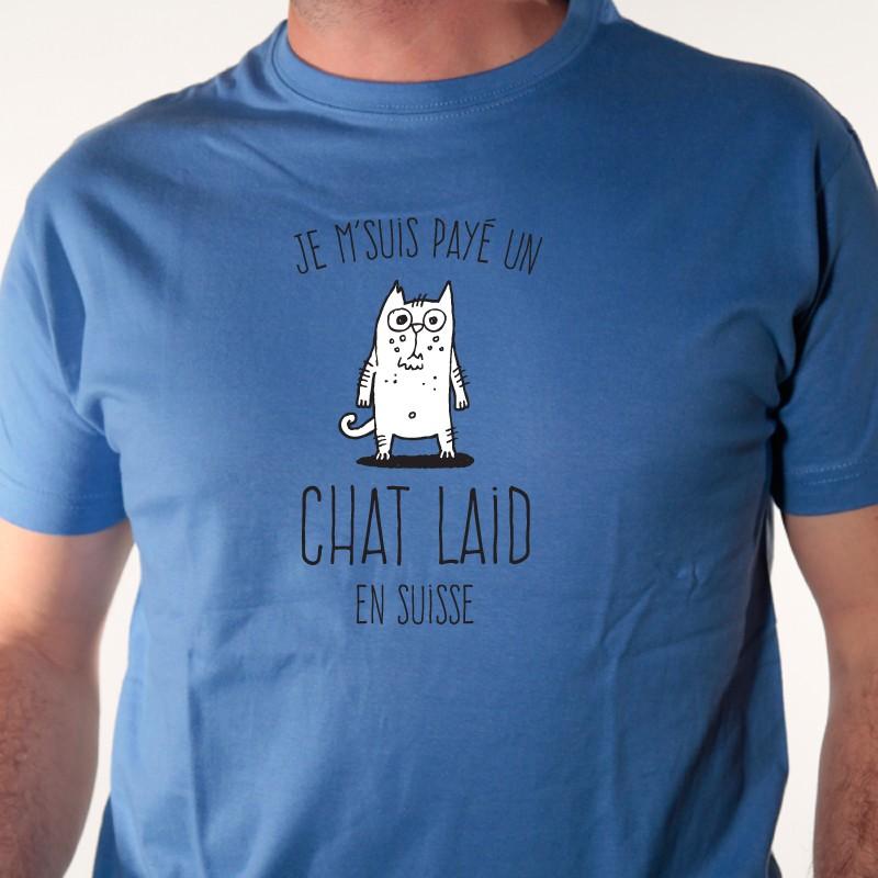 t shirt chat laid en suisse tee shirt humour animaux avomarks. Black Bedroom Furniture Sets. Home Design Ideas
