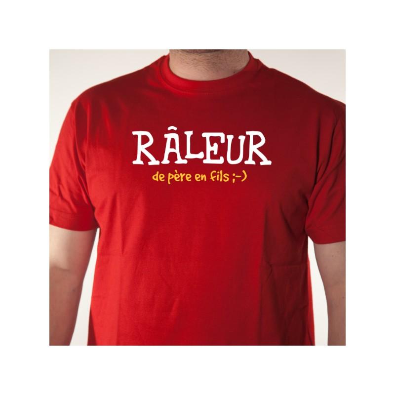 T shirt à phrase humoristique Râleur de père en fils