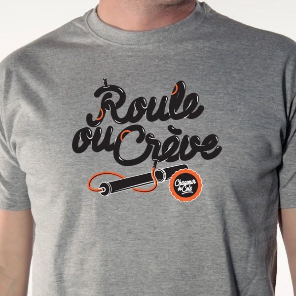 t-shirt velo Roule ou crève